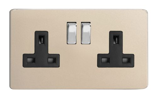 Varilight XDN5BS Screwless Satin Chrome 2 Gang Double 13A Switched Plug Socket